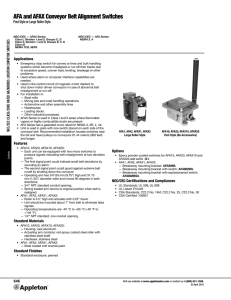 AFA and AFAX Conveyor Belt Alignment Switches Catalog Pages