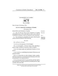 Constitution of Zambia (Amendment), 2016-Act No. 2.pmd