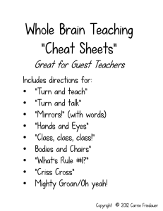 "Whole Brain Teaching ""Cheat Sheets"""