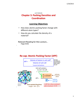 Chapter 3: Packing Densities and Coordination Re