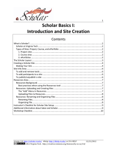 Scholar Basics I: Introduction and Site Creation