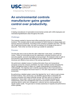 An environmental controls manufacturer gains greater control over