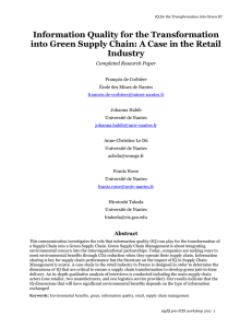 Information Quality for the Transformation into Green Supply Chain