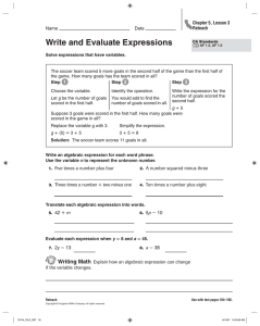 Write and Evaluate Expressions