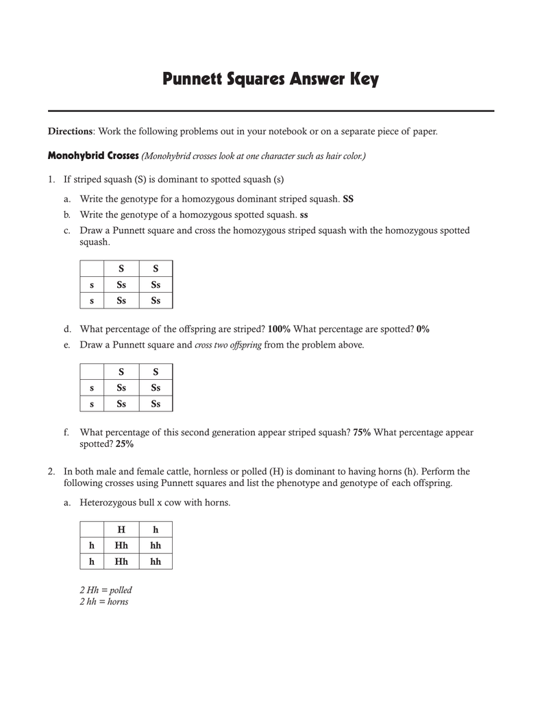 Punnett Squares Answer Key