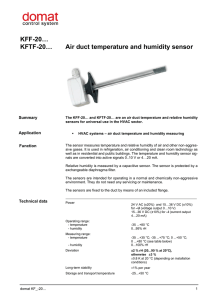 KFF-20… KFTF-20… Air duct temperature and humidity sensor