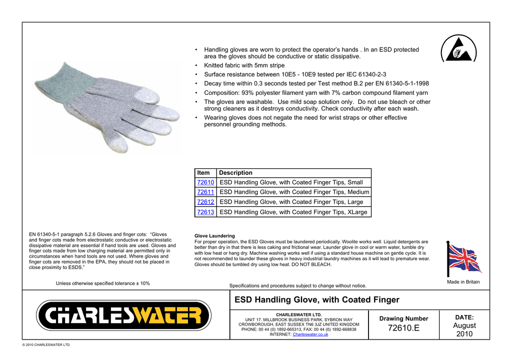 72610 E ESD Handling Glove, with Coated Finger