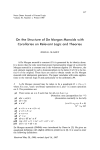 On the Structure of De Morgan Monoids with