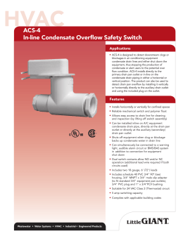 ACS-4 In-line Condensate Overflow Safety Switch