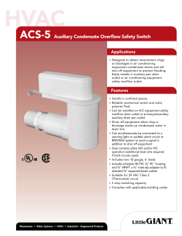 ACS-5 Auxiliary Condensate Overflow Safety Switch