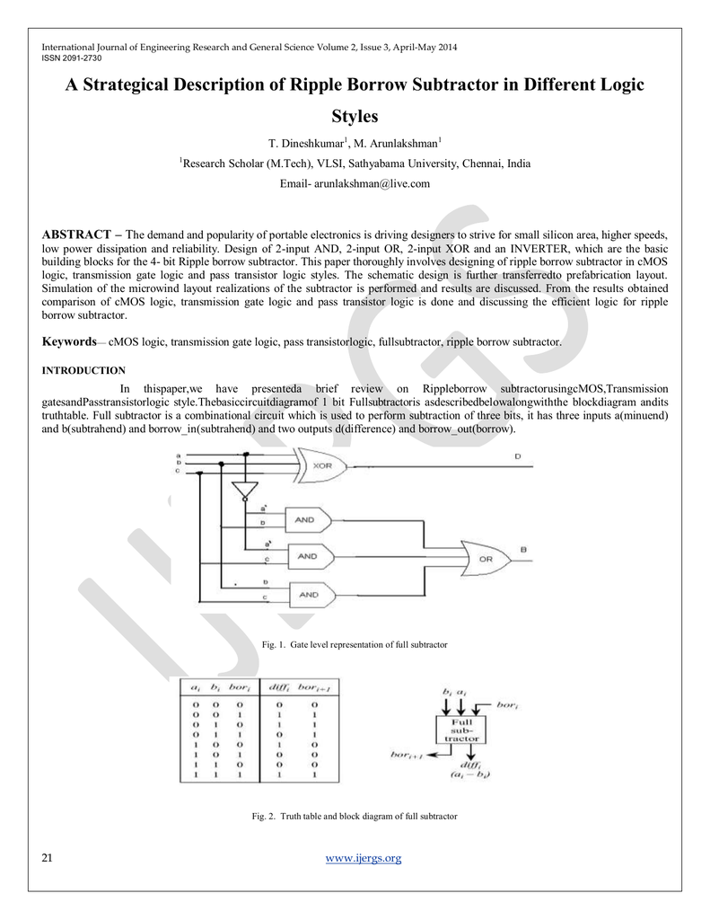 A Strategical Description Of Ripple Borrow Subtractor In Different Binary Circuit