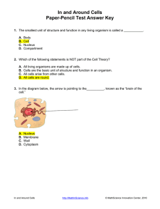 In and Around Cells Paper-Pencil Test Answer Key
