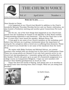 April 2016 Newsletter - Shallotte Presbyterian Church
