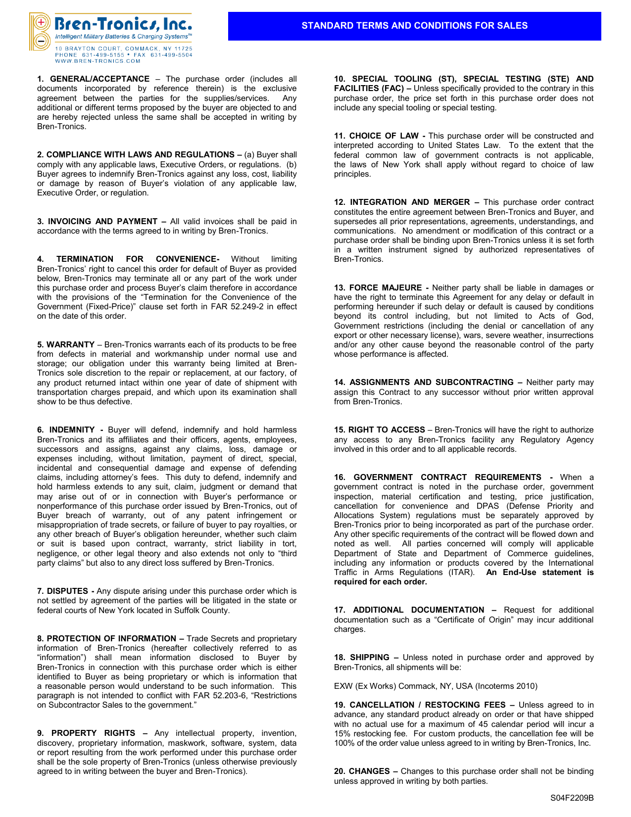 Standard Terms And Conditions For Sales Bren
