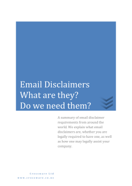Email Disclaimers - Crossware Mail Signature