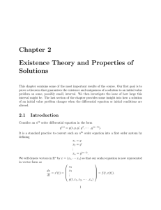Chapter 2 Existence Theory and Properties of Solutions
