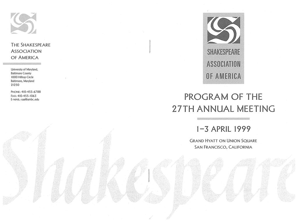 27th Annual Meeting In San Francisco California 1999