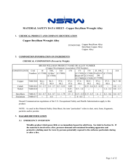 MATERIAL SAFETY DATA SHEET - Copper Beryllium