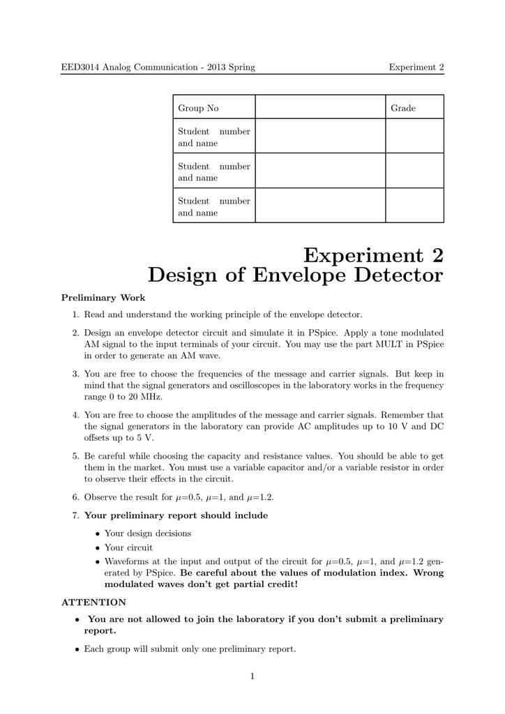 Experiment 2 Design of Envelope Detector