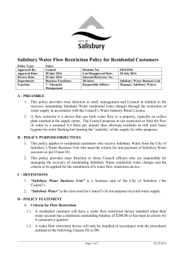 Salisbury Water Flow Restrictions for Residential