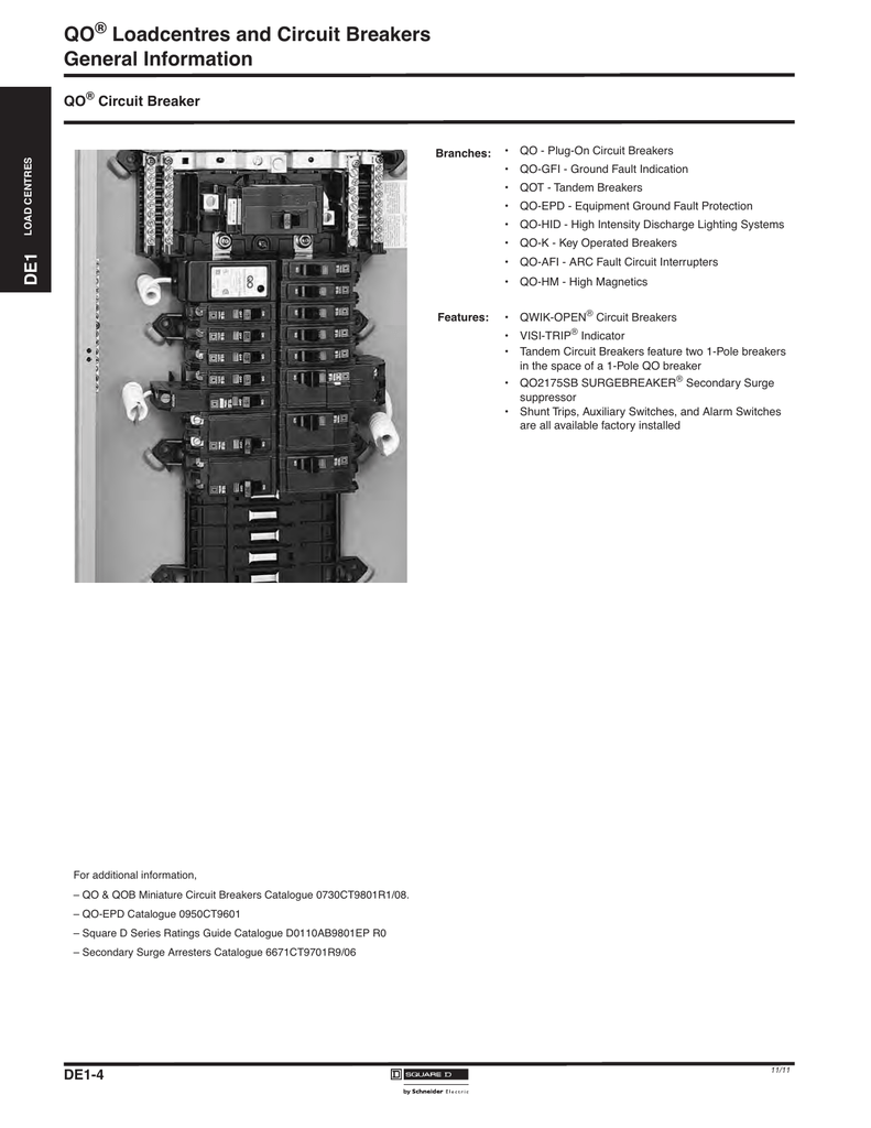 Qo Loadcentres And Circuit Breakers General Information Wiring Diagram In Addition Shunt Trip Breaker On