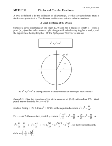 MATH 116 Circles and Circular Functions