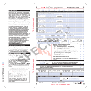 Declaration Card - Agence des services frontaliers du Canada