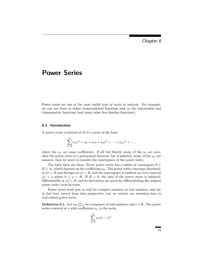 Power Series - UC Davis Mathematics