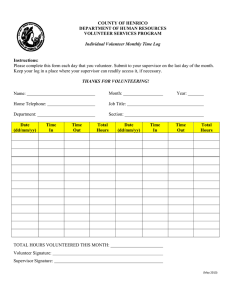 Instructions: Please complete this form each day that you volunteer