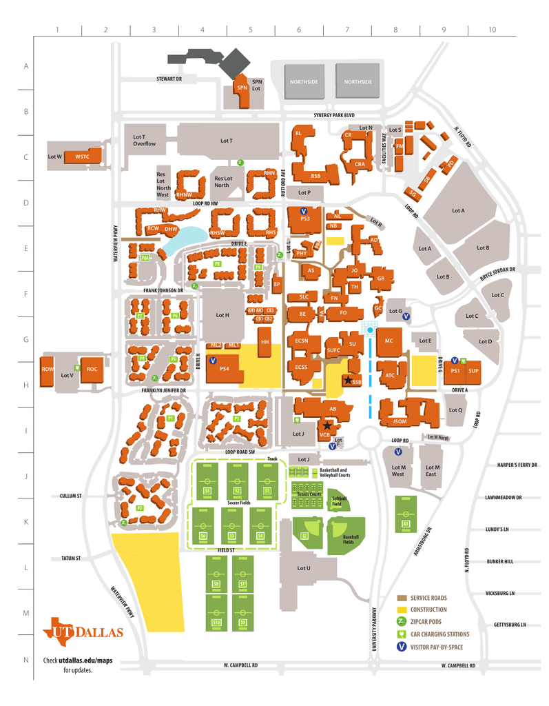 Brockton Va Campus Map.Campus Map The University Of Texas At Dallas