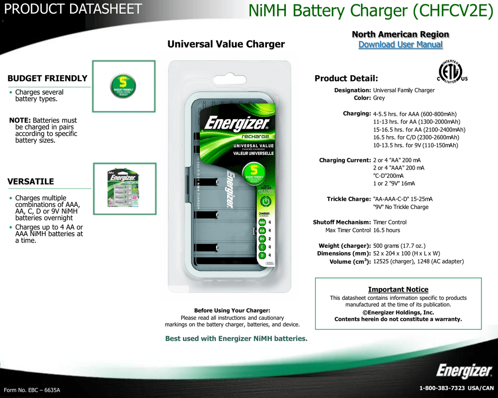 Nimh Battery Charger Chfcv2e For All Types