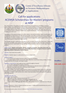 Call for applications ACEMSA Scholarships for Masters` programs at