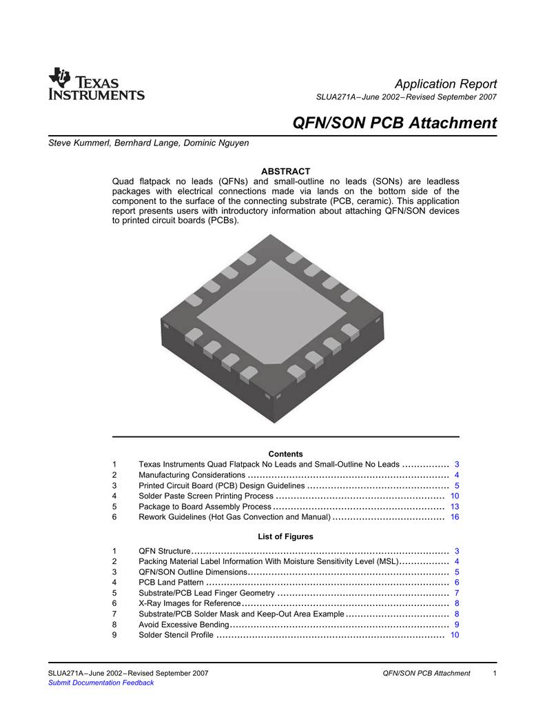 QFN/SON PCB Attachment Application Report (Rev  A