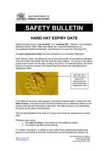 Safety bulletin: hard hat expiry date