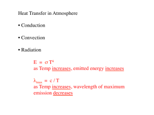 Heat Transfer in Atmosphere • Conduction • Convection • Radiation