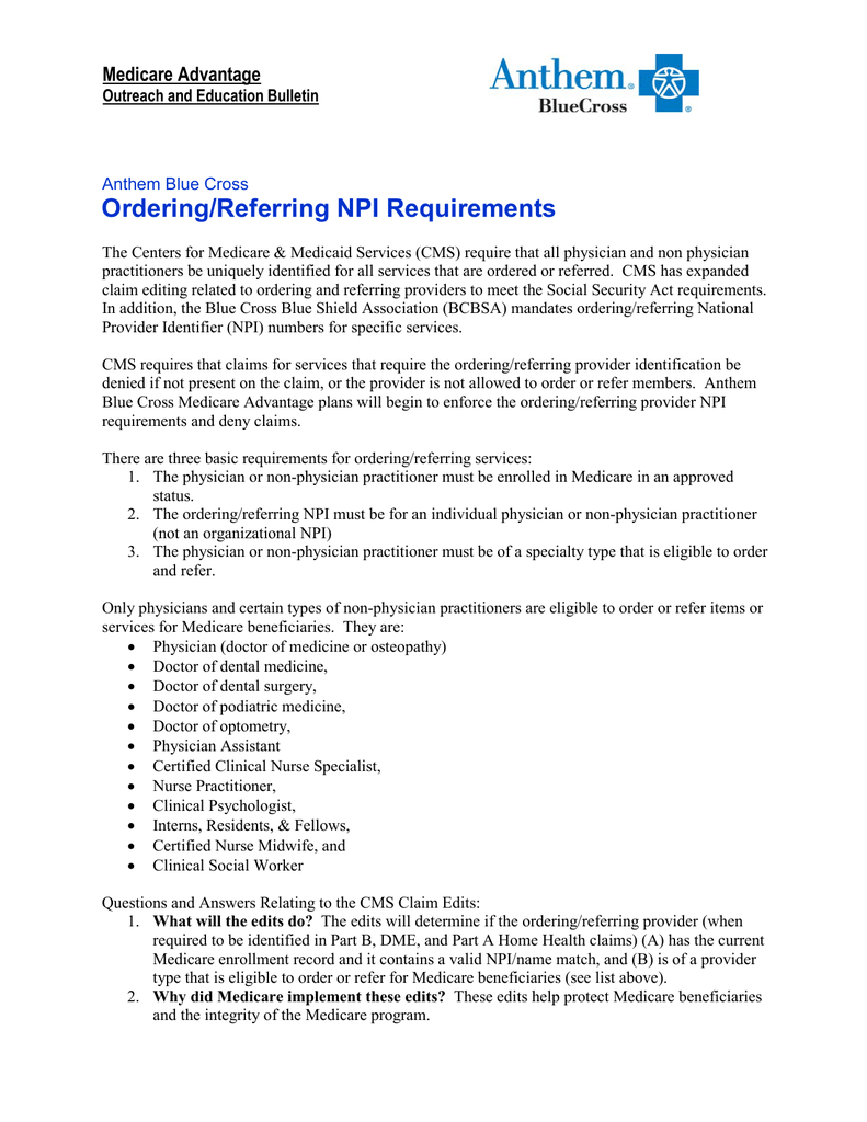 Ordering/Referring NPI Requirements