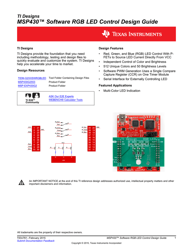 MSP430™ Software RGB LED Control Design