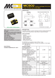 MCSO2 family package 5×3.2 mm From 10 kHz up to 225 MHz
