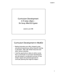 Curriculum Development in 6 easy steps – for busy Med
