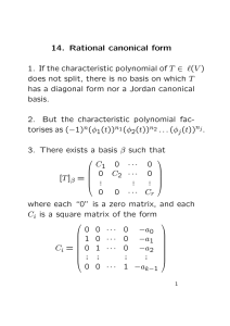 14. Rational canonical form 1. If the characteristic polynomial of T
