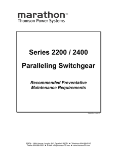 Series 2200 / 2400 Paralleling Switchgear
