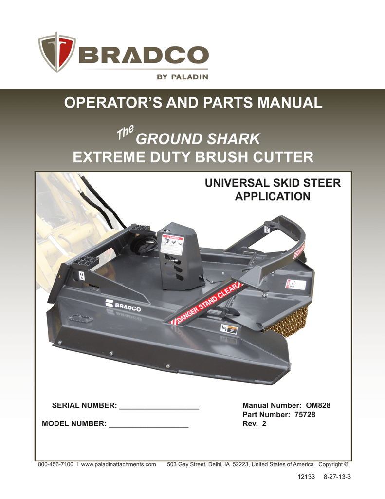 OPERATOR`S AND PARTS MANUAL GROUND SHARK EXTREME