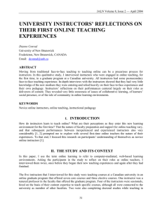 university instructors` reflections on their first online teaching