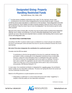 Designated Giving: Properly Handling Restricted Funds (cont.)