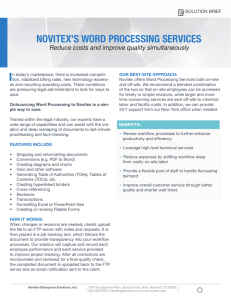 NOVITEX`S WORD PROCESSING SERVICES
