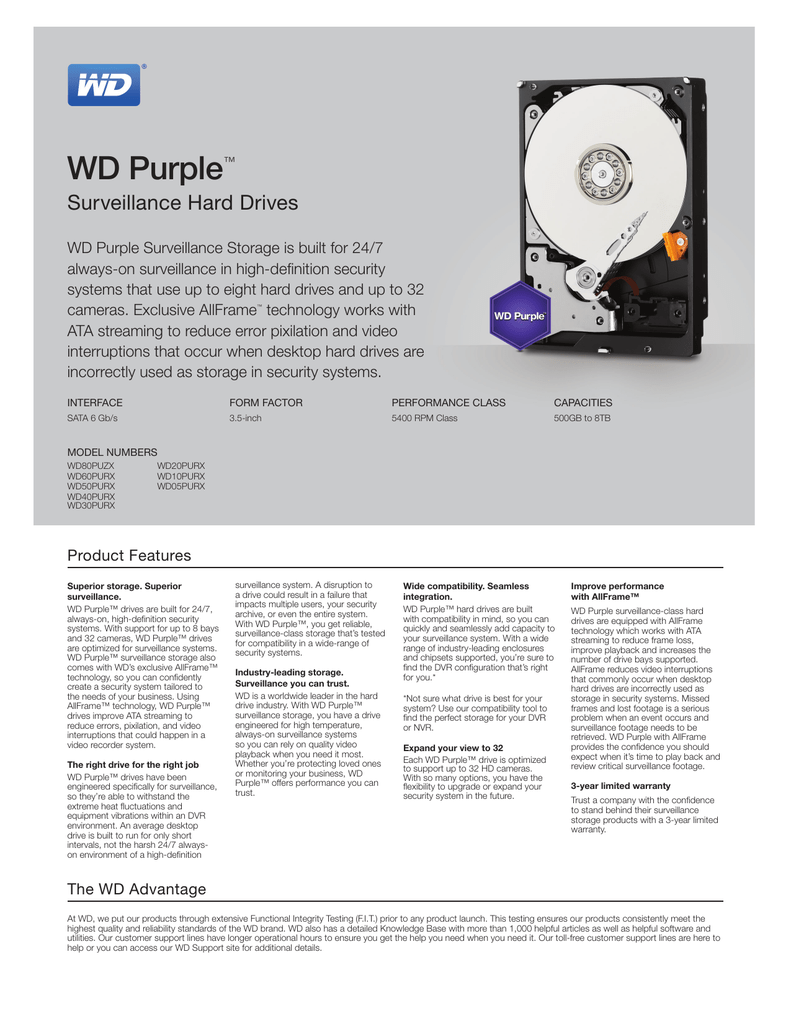 WD Purple Series Spec Sheet