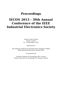 Proceedings IECON 2013 - 39th Annual Conference of the IEEE