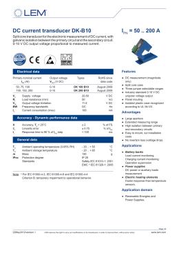 DC current transducer DK-B10 IPN = 50 .. 200 A