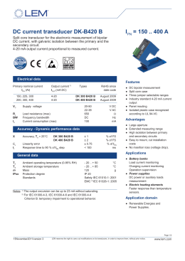 DC current transducer DK-B420 B IPN = 150 .. 400 A