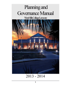 Planning and Governance Manual - West Hills Community College